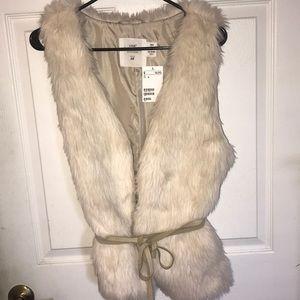 Faux Fur Vest w/ Tie